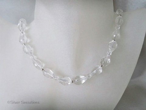 Faceted Clear Rock Crystal Quartz 'Bow' Sterling Silver Necklace